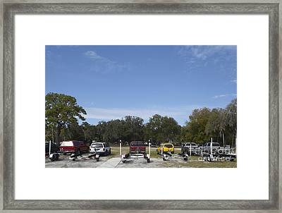 Rows Of Vehicles With Boat Trailers Framed Print