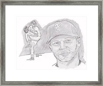 Framed Print featuring the drawing Roy Halladay by Chris  DelVecchio