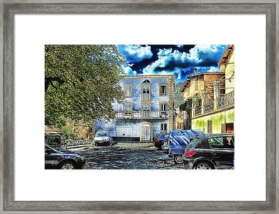 Roya Valley Breil Sur Roya The Blue House Framed Print by Enrico Pelos