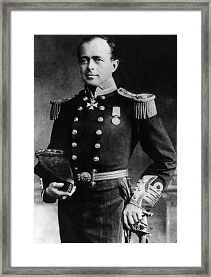 Royal Navy Officer And Antarctic Framed Print by Everett