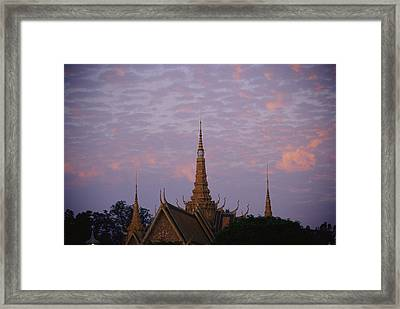 Royal Palace Rooftop At Dawn, Phnom Framed Print by Steve Raymer
