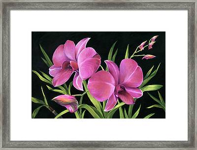 Framed Print featuring the painting Royal Pink Orchids by Nancy Tilles