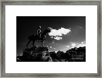 Royal Scots Greys Boer War Monument In Princes Street Gardens With Edinburgh Castle In The Backgroun Framed Print by Joe Fox