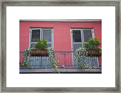 Royal Street Balcony Framed Print by Leslie Leda