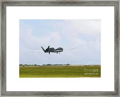 Rq-4 Global Hawks First Flight Framed Print by Photo Researchers