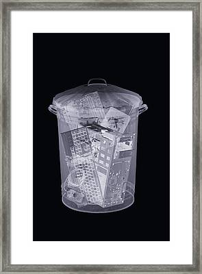 Rubbish Bin, Simulated X-ray Framed Print
