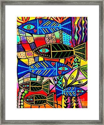 Ruby Coral Fish Framed Print by Sandra Silberzweig