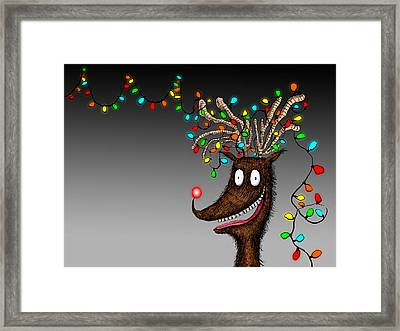 Rudolph Reindeer Christmas Lights Tangle Framed Print