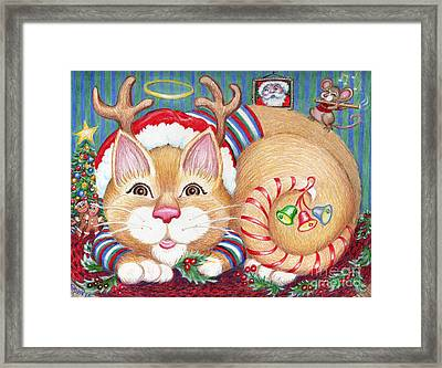 Rudolph The Pink Nosed Dear Cat Framed Print