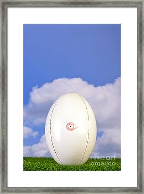 Rugby Ball Tee'd Up On Grass Framed Print by Richard Thomas