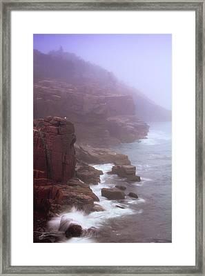 Rugged Seacoast In Mist Framed Print