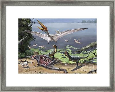 Rugops Primus Dinosaurs And Alanqa Framed Print by Sergey Krasovskiy