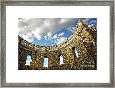 Ruin Wall With Windows Of An Old Church  Framed Print by Sandra Cunningham