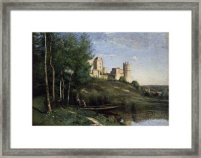 Ruins Of The Chateau De Pierrefonds Framed Print by Jean Baptiste Camille Corot