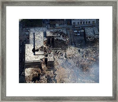 Ruins Of The Collapsed World Trade Framed Print by Everett