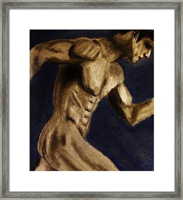 Framed Print featuring the drawing Running Man by Michael Cross