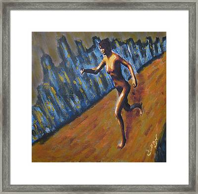 Running Nude Female Goddess On The Muddy Skyline Of Chicagos Lakefront Framed Print