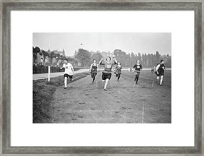 Running Track Race Framed Print by Topical Press Agency