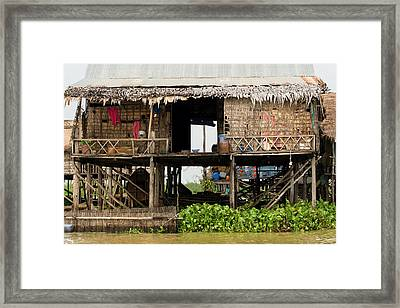 Rural Fishermen Houses In Cambodia Framed Print
