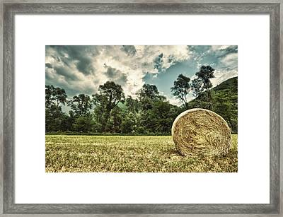 Rural Landscape With Hay Bale Framed Print by sisifo73photography by Marco Romani