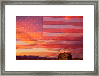 Rural Patriotic Little House On The Prairie Framed Print by James BO  Insogna