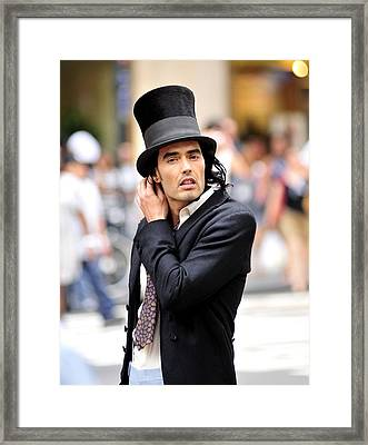 Russell Brand During Filming Framed Print