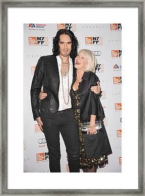 Russell Brand, Helen Mirren At Arrivals Framed Print