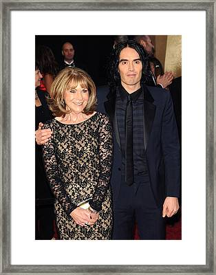 Russell Brand With His Mother Framed Print by Everett