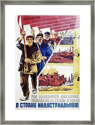 Russian Agitprop Poster Of 1930 Framed Print by Ria Novosti