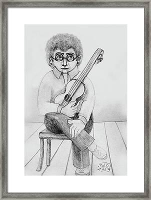 Russian Guitarist Black And White Art Eyeglasses Long Curly Hair Tie Chin Shirt Trousers Shoes Chair Framed Print by Rachel Hershkovitz
