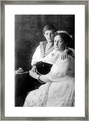 Russian Tsarina Alexandra & Tsarevich Framed Print by Photo Researchers