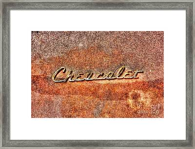 Rusted Antique Chevrolet Logo Framed Print by Dan Stone