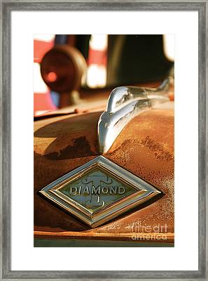 Rusted Antique Diamond Car Brand Ornament Framed Print by ELITE IMAGE photography By Chad McDermott