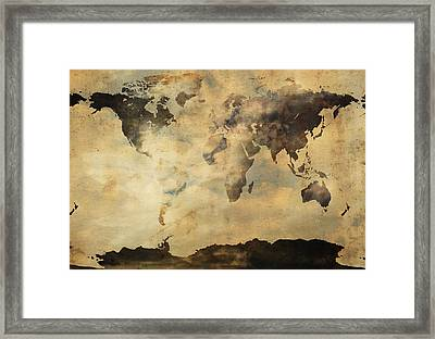 Rusted Metal World Map Framed Print by Stephen Walker