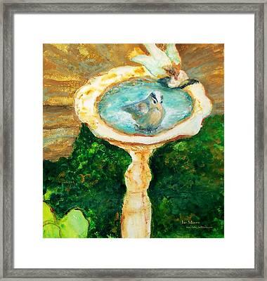 Rustic Birdbath Framed Print by Jan Moore