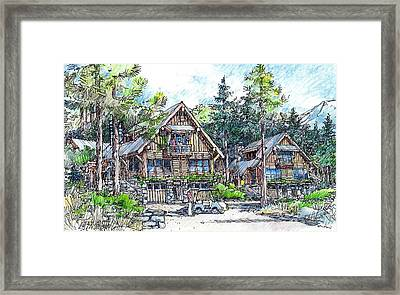 Framed Print featuring the drawing Rustic Cabins by Andrew Drozdowicz