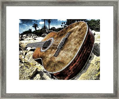 Rustic Guitar Framed Print by Jason Abando