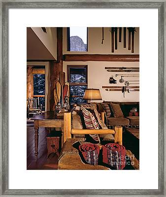 Rustic Lodge Interior Framed Print