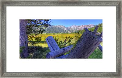 Rustic Moss Covered Pioneer Era Fence In Olympic Valley California Framed Print