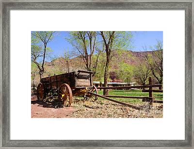 Rustic Wagon At Historic Lonely Dell Ranch - Arizona Framed Print by Gary Whitton