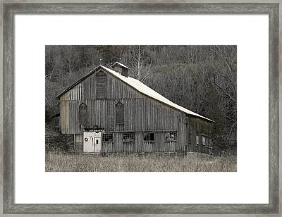 Rustic Weathered Mountainside Cupola Barn Framed Print by John Stephens