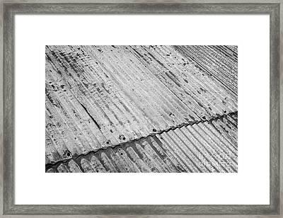 Rusting Repaired Corrugated Iron Roof Sheeting In Edinburgh Framed Print by Joe Fox