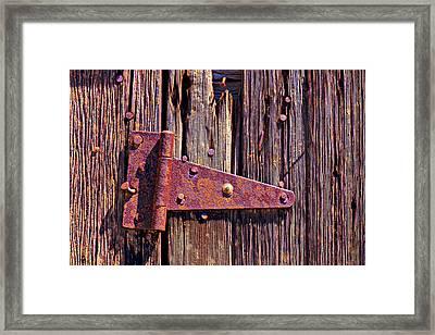 Rusty Barn Door Hinge  Framed Print by Garry Gay