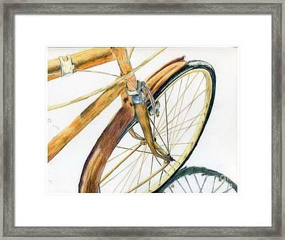Rusty Beach Bike Framed Print