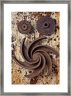 Rusty Gears Framed Print by Garry Gay