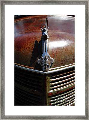 Rusty Old 1935 International Truck Hood Ornament. 7d15503 Framed Print by Wingsdomain Art and Photography