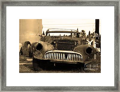 Rusty Old American Car . 7d10343 . Sepia Framed Print by Wingsdomain Art and Photography