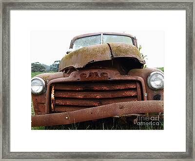 Rusty Old Gmc Truck . 7d8396 Framed Print by Wingsdomain Art and Photography