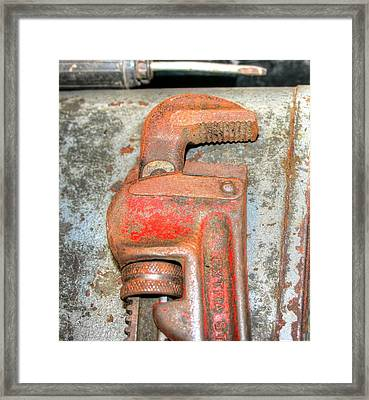 Rusty Pipe Wrench Framed Print by Ester  Rogers