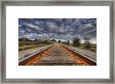 Rusty Rail Line And Fog Clouds Framed Print by Lachlan Kay
